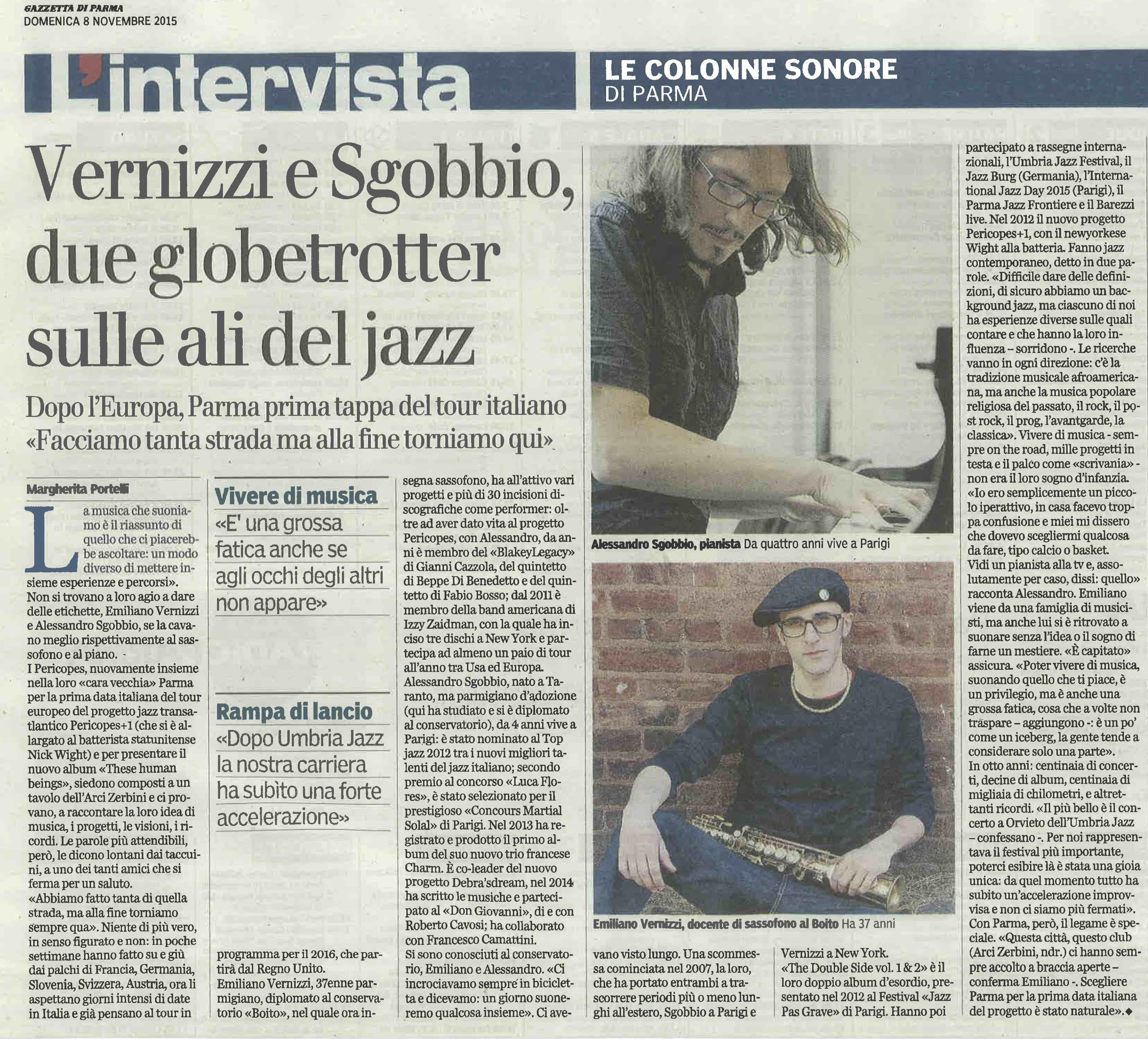 Pericopes - Intervista Gazzetta di Parma 2015 lq
