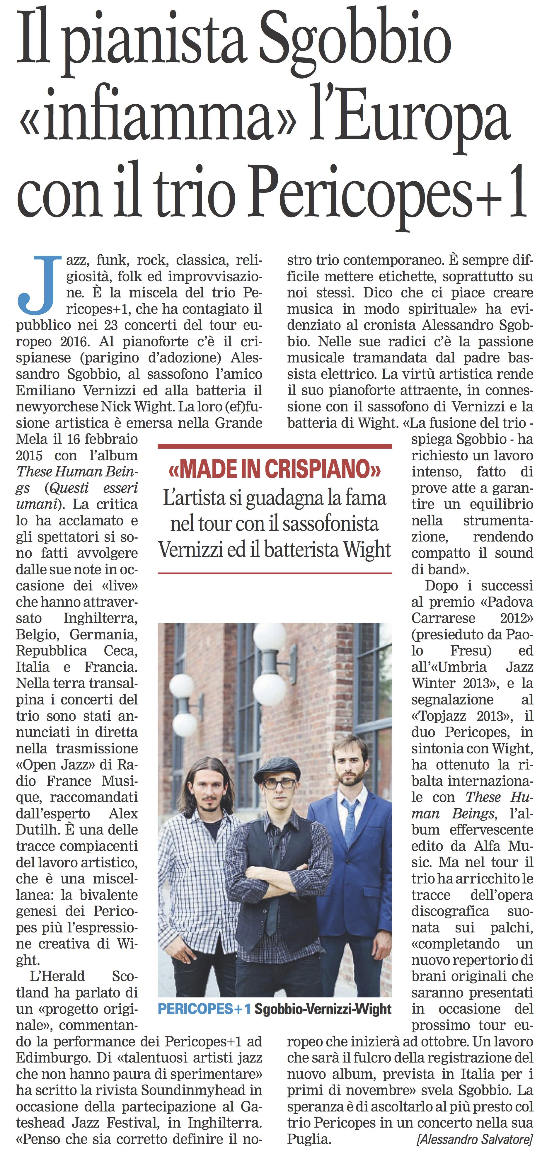 Pericopes+1 - La Gazzetta del Mezzogiorno 23-06-2016 mq